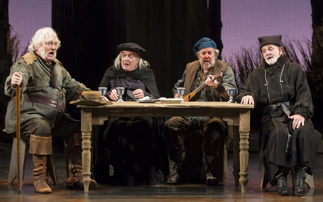 (l-r) Stacy Keach as Falstaff, Ted van Griethuysen as Justice Shallow, Brad Bellamy as Bardolph, and Bev Appleton as Justice Silence in the Shakespeare Theatre Company production of Henry IV, Part 2. (Photo: Scott Suchman)