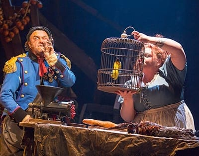 Keala Settle as Madame Thenardier & Cliff Saunders as Monsieur Thenardier in Les Miserables (Photo: Michael Le Poer Trench)