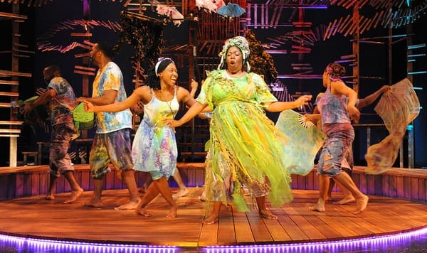 (center) Aisha Jackson as Ti Moune and Theresa Cunningham as Asaka, Mother of the Earth. (Photo: Stan Barouh)