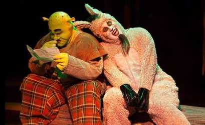 Russell Sunday as Shrek and Calvin McCullough as Donkey (Photo: Kirstine Christiansen)