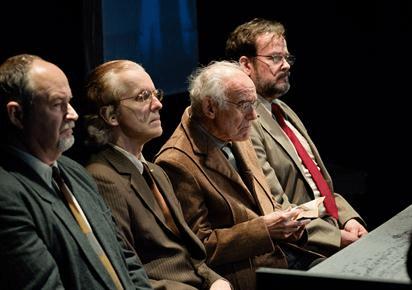 Michael Replogle as Ernst Janning, Kim Curtis as Emil Hahn, Victor Gold as Werner Lammpe, Tom Fuller as Frederick Hoffstetter. (Photo:  Johannes Markus )