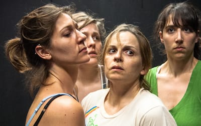 In rehearsal: (l-r) Erin White, Katie Murphy, Kimberly Gilbert, and Eleni Grove. (Photo by Christopher Grady)
