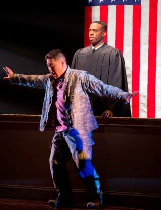 An American Soldier 5 - Andrew Stenson as Danny Chen and Soloman Howard as the Judge (Photo Scott Suchman)