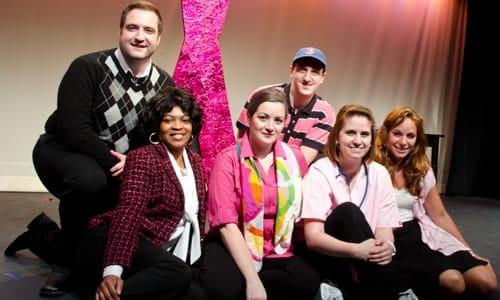The cast of Breast in Show. Left to right (top row) Matt Dewberry, Chris Rudy (bottom row) Ayanna Hardy, Megan Westman, Jennie Lutz, Gracie Jones. Click for tickets