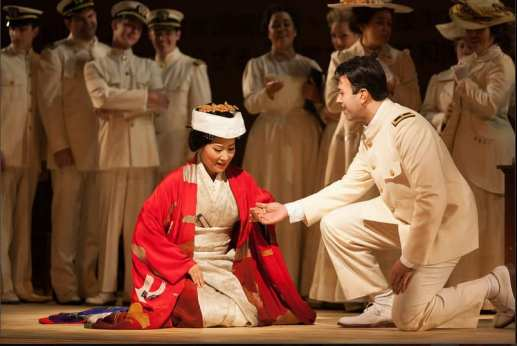 Yunah Lee as Cio-Cio-San and Dinyar Vania as Lieutenant B.F. Pinkerton (Photo: Karli Cadel/The Glimmerglass Festival)