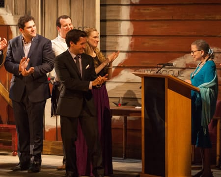 Supreme Court Justice Ruth Bader Ginsburg applauded by the cast (Photo courtesy of Glimmerglass Festival)