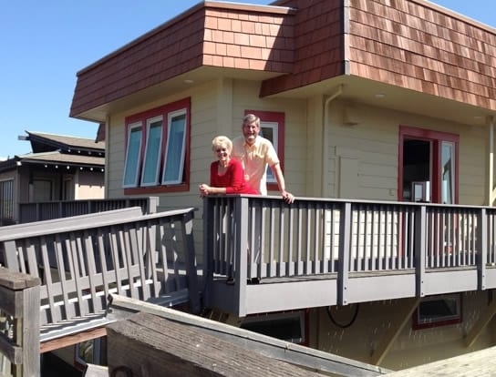 Teddie and Brad Hathaway onboard their houseboat Water Song in Sausolito, CA.