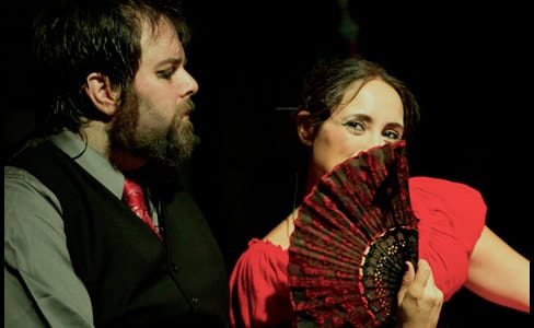 Andrew Lloyd Baughman as Sweeney Todd and  Nina Osegueda as Mrs. Lovett (Photo: Brandon Penick Photography)