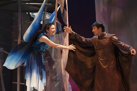 (l-r)  Tia Shearer, as Flory the Fairy and Ryan Sellers as Peregrine the Bat (Photo: Margot Shulman)