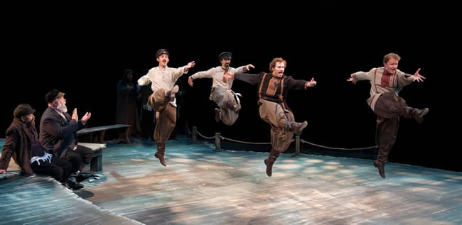 (l-r) Kyle Schliefer, Eric Greengold, Curtis Schroeger and Kurt Boehm in Fiddler on the Roof (Photo: Margot Schulman)