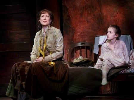 Karen Ziemba as Adult Marie and Sophia Anne Caruso as Charlotte in Little Dancer. Photo by Paul Kolnik