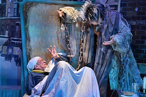Conrad Feininger as Scrooge with a ghost (Photo: Bruce Douglas)