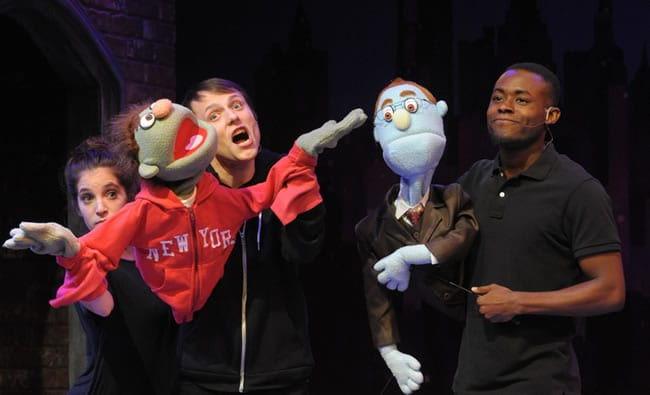Nicky Rod: Jenna Berk, Alex Alferov, Vaughn Ryan Midde in Avenue Q from Constellation Theatre (Photo: Stan Barouh)