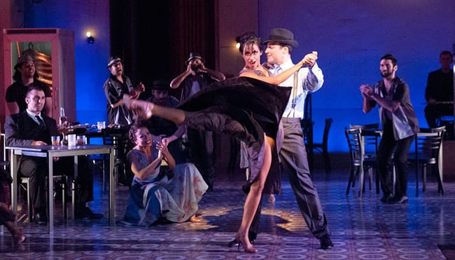 9 / 9 Ensemble member Karla Choko and Caesar Samayoa as Camilo  in Carmen: An Afro-Cuban Jazz Musical, at Olney Theatre Center (Photo: Stan Barouh)