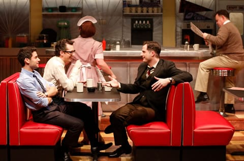 (l-r) Adam Kantor (Eddie), Josh Grisetti (Shrevie), and Bryan Fenkart (Modell) in Diner at Signature Theatre. (Photo: Carol Rosegg)