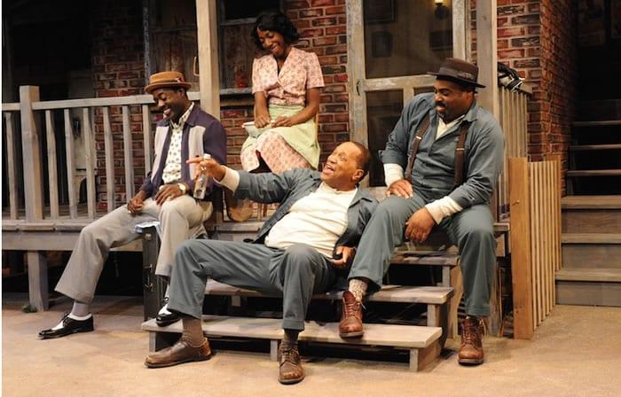 (l-r) Gary-Kayi Fletcher as Lyons, Joy Jones as Rose, Jason B. McIntosh as Bono and Alan Bomar Jones as Troy in Fences at Everyman Theatre (Photo: Stan Barouh)