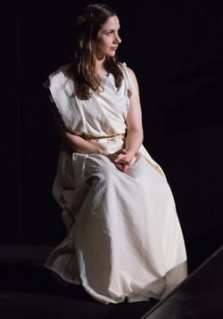 Lysistrata (Erin Gorski) awaits the outcome of her trial. (Photo:  Kevin Allen)