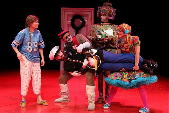 (l-r) Lauren Williams (Clara), Vincent Kempski ( Fritz/Nutcracker), Will Gartshore (Monkey), Evan Casey (Hugo), and Erin Weaver (Phoebe) (Photo: Danisha Crosby)