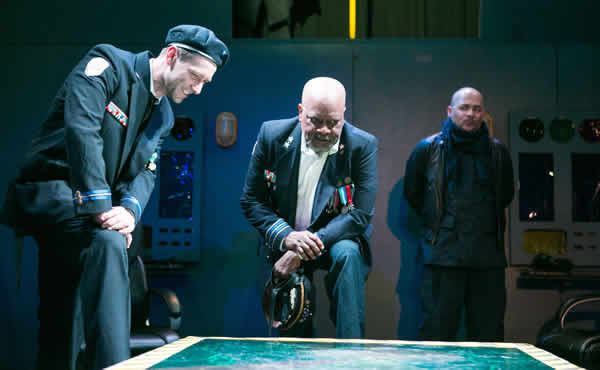 (l-r) Sun King Davis as Cassius, Chuck ___ as Othello and Frank Britton as Iago (Photo: C. Stanley Photography)