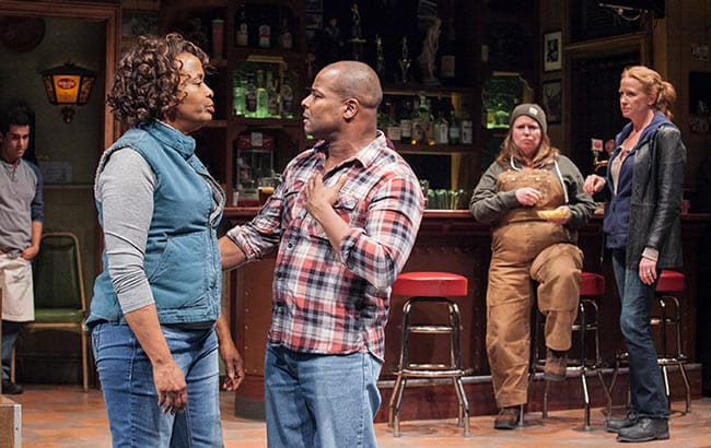 (l-r) Reza Salazar as Oscar, Kimberly Scott as Cynthia, Kevin Kenerly as Brucie, Tara Mallen as Jessie and Johanna Day as Tracey in Sweat at Arena Stage at the Mead Center for American Theater (Photo: C. Stanley Photography)