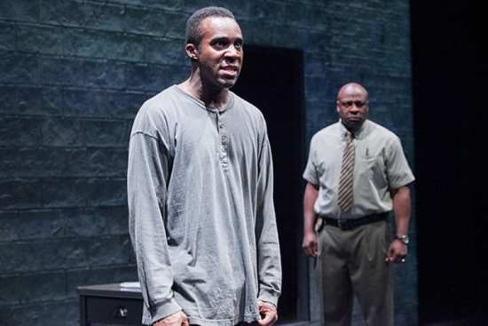 (l-r) Tramell Tillman as Chris and Tyrone Wilson as Evan in Sweat at Arena Stage at the Mead Center for American Theater (Photo: C. Stanley Photography)