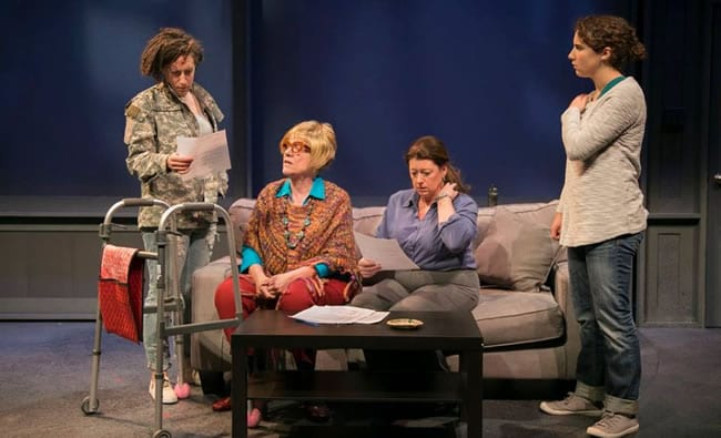 """(l-r) Shayna Blass as """"Billie"""" Valerie Lash as """"Franny"""" Grace Bauer as """"Susan"""" and Isa Guitian as """"Max"""" in Technicolor Life at Rep Stage."""