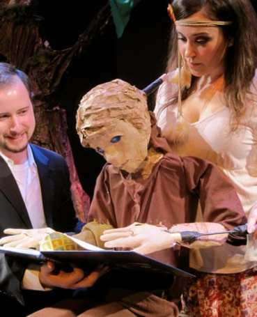 Puppeteers Justin Mohay and Paige O'Malley with Mamillius (Photo: Seamus Miller)