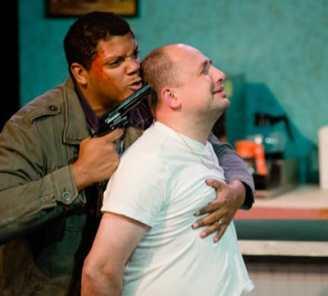 (l-r) Chaz Pando as the Customer; Nello DeBlasio as George (Photo: Johannes Markus)