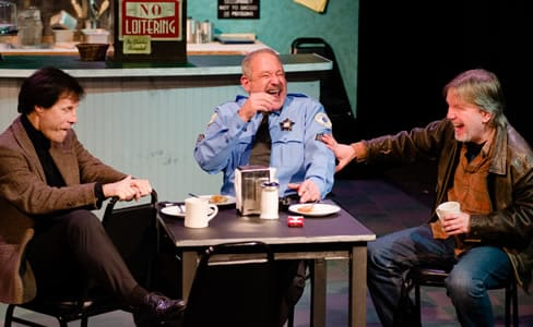 (l-r) Anthony van Eyck as Bob Barberson; Dan Alexander as Gene Czerwicki; Bruce Alan Rauscher as Jack Rolf in Cops at American Century Theater (Photo by Johannes Markus )