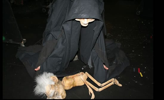 Sam Hindle as Death with the puppet Nathaniel Tweak.