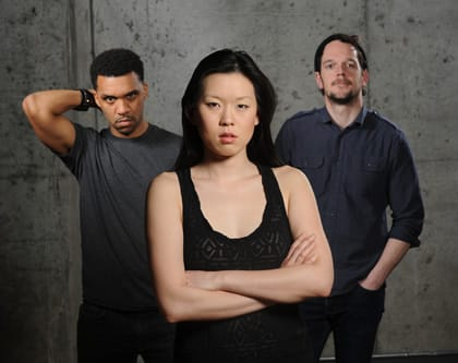 (l-r) DeLance Minefee, Jeena Yi, Ryan Barry, rehearsal photo for Lights Rise on Grace (Photo: Stan Barouh)