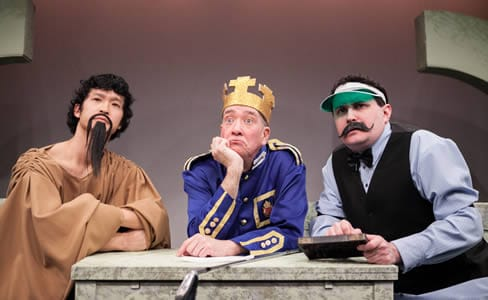 Jacob Yeh as Confucius, Conrad Feininger at the President, and Michael Avolio as the Accountant General in THE THING HAPPENS. (Photo: C. Stanley Photography)