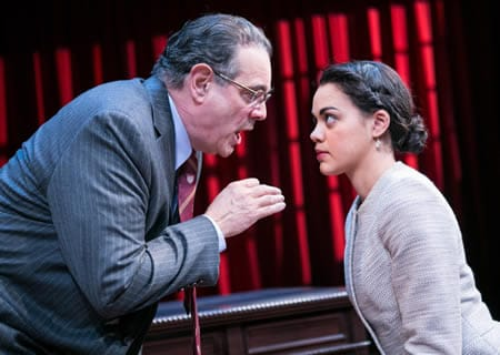 Edward Gero as Supreme Court Justice Antonin Scalia and Kerry Warren as Cat in The Originalist (Photo: C. Stanley Photography)