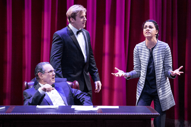 (l-r) Edward Gero as Supreme Court Justice Antonin Scalia, Harlan Work as Brad and Kerry Warren as Cat in The Originalist (Photo: C. Stanley Photography)