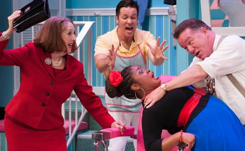Shear Madness cast constantly rotates. A cast from 2014: (l-r) Brigid Cleary, Aaron Shields, Danny Bernardy, Soneka Anderson in Shear Madness (Photo: Margot Schulman)