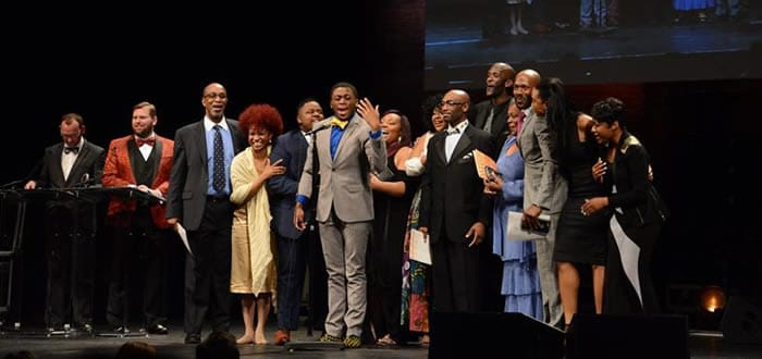 Cast members of Black Nativity produced by Theater Alliance, accepting for Most Outstanding Ensemble. The production also was named Most Outstanding Musical. and Outstanding Musical Direction. (Photo courtesy of theatreWashington)