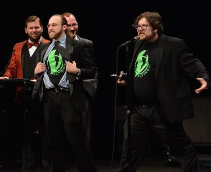 (l-r) From Flying V Theatre: (l-r) Jonathan Ezra Rubin and Jason Schlafstein's spirited acceptance of the John Aniello Award for Emerging Theatre Company (Photo courtesy of theatreWashington)