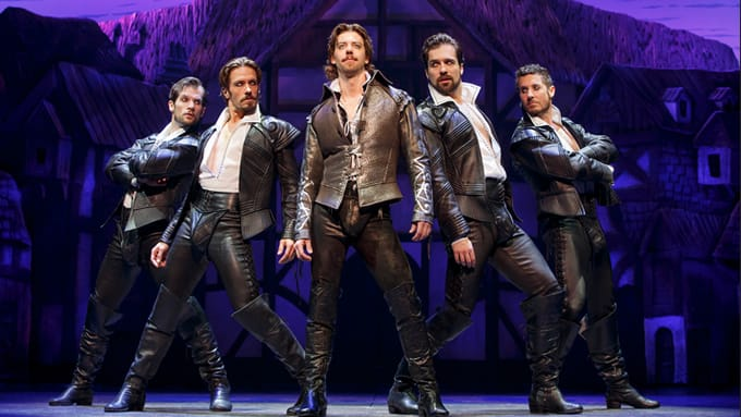 Christian Borle (center) as William Shakespeare with (l-r) Ryan VanDenBom, Eric Sciotto, Bud Weber and Aleks Pevek (Photo: Joan Marcus)