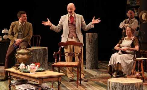 (l-r) Ryan Rilette, Mitchell Hébert, Mark Jaster and Nancy Robinette in Round House Theatre's Uncle Vanya. (Photo: Danisha Crosby)