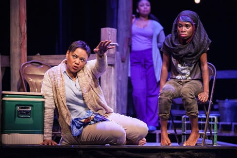 (l-r) Caroline Clay as Gio and Afi Bijou as Amber, with Nikiya Mathis as Cassan, in Katori Hall's The Blood Quilt at Arena Stage at the Mead Center for American Theater  (Photo: C. Stanley Photography)