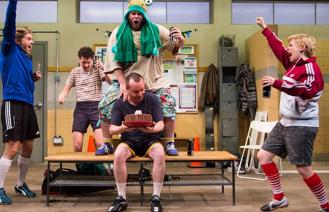 (l-r) Zdenko Martin (Danny), Liam Forde (Luke), Jonathan Judge-Russo (Beardy Geoff), Michael Glenn (Joe), and Kimberly Gilbert (Viv) in Jumpers for Goalposts at Studio Theatre. (Photo: Igor Dmitry)