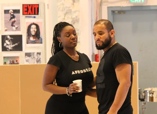 Saycon Sengbloh and Mitchell Brunings rehearse as Rita and Bob Marley in the upcoming musical, Marley (Photo: courtesy of Center Stage)
