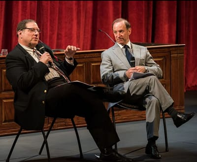 (l-r) Robert Aubry Davis and STC Trustee Abbe David Lowell  at the Shakespeare Theatre Company's 2015 Mock Trial. (Photo by Kevin Allen.