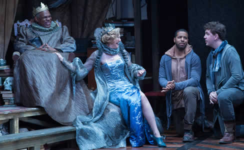 (l-r) Craig Wallace as Claudius, Kimberly Schraf as Gertrude,  Romell Witherspoon as Rosencrantz and Adam Wesley Brown as Guildenstern Rosencrantz and Guildenstern Are Dead at Folger Theatre (Photo:  Teresa Wood)