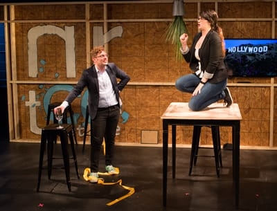 """AND THE OSCAR GOES TO…"" Written by Brian Sutow. Featuring Joshua Morgan and Kaitlin Kemp. (Photo: Teresa Wood)"