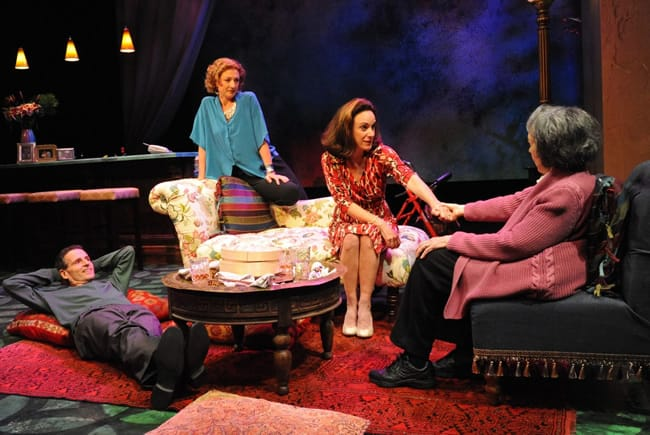 "(l-r) Paul Morella, Lise Bruneau, Susan Rome and Barbara Rappaport in ""The Tale of the Allergist's Wife.""at Theater J (Photo: Stan Barouh)"