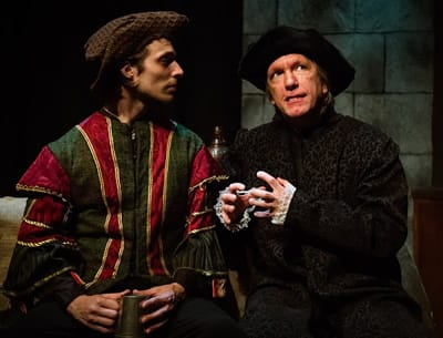 """Brandon Herlig, as Richard Rich, and Bruce Alan Rauscher, as Thomas Cromwell, in """"A Man for All Seasons"""" at NextStop Theatre - (Photo: Traci J. Brooks Studios.)"""
