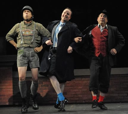 Stephen F. Schmidt as Franz Liebkind, Michael Di Liberto as Leo Bloom, and Michael Kostroff as Max Bialystock in Olney Theatre Center's production of The Producers. (Photo: Stan Barouh)