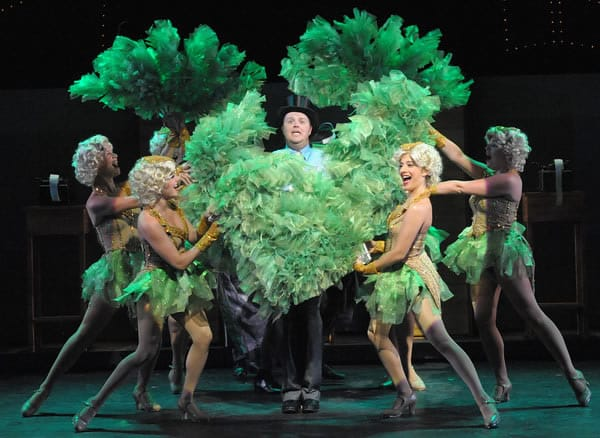Leo Bloom (Michael Di Liberto) wants to be a producer. Here with his Showgirls in Olney Theatre Center's production.  (Photo: Stan Barouh)