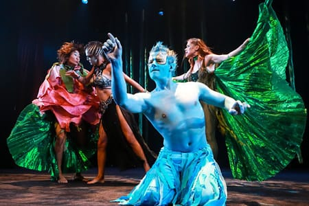 Fairy Ensemble Zana Gankhuyang and Kathy Gordon with Tori Bertocci as Titania and Alex Mills as Puck. (Photo: Johnny Shryock)